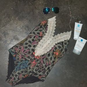 Anthropologie 💙 Lace Front One Piece Swimsuit